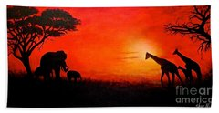 Sunset At Serengeti Beach Towel