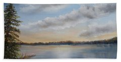 Beach Towel featuring the painting Sunset At Sparta Lake New Jersey by Katalin Luczay