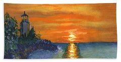 Sunset At The Lighthouse Beach Towel