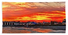 Sunset At The Music Pier Beach Towel
