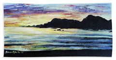 Beach Towel featuring the painting Sunset Beach by Shana Rowe Jackson