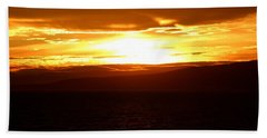 Sunset By The Fjord Beach Towel