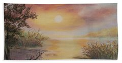 Beach Towel featuring the painting Sunset By The Lake by Katalin Luczay