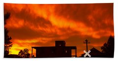 Sunset Caboose Beach Towel