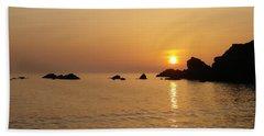Sunset Crooklets Beach Bude Cornwall Beach Towel by Richard Brookes