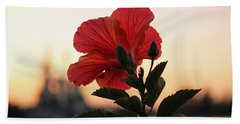 Beach Towel featuring the photograph Sunset Flower by Cynthia Guinn