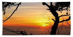 Sunset In A Tree Frame Beach Towel