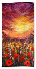 Sunset In Poppy Valley  Beach Towel by Lilia D