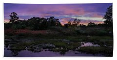 Sunset In Purple Along Highway 7 Beach Towel