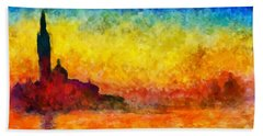 Beach Towel featuring the painting Sunset In Venice by Claude Monet