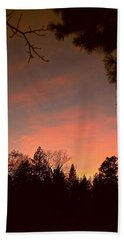Sunset In Winter Beach Towel