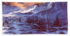 Beach Towel featuring the painting Sunset Indian Village by Donna Tucker