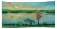 Sunset Lake B Beach Towel