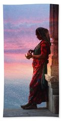 Sunset Lake Colorful Woman Rajasthani Udaipur India Beach Sheet