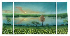 Sunset Lake Triptych Beach Towel