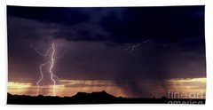 Beach Towel featuring the photograph Sunset Lightning-signed by J L Woody Wooden