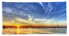 Sunset Mackinac Bridge Beach Towel