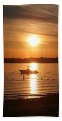 Beach Towel featuring the photograph Sunset On Boat by Karen Silvestri