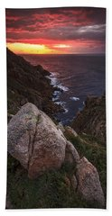 Sunset On Cape Prior Galicia Spain Beach Towel