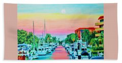 Beach Towel featuring the painting Sunset On The Canal by Deborah Boyd