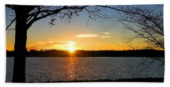 Sunset On The Potomac Beach Sheet by Emmy Marie Vickers