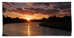 Beach Towel featuring the photograph Sunset On The River by Dave Files