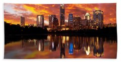 Sunset Over Austin Beach Towel