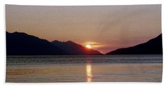 Sunset Over Cook Inlet Alaska Beach Towel by Denyse Duhaime