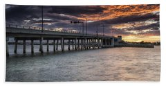 Sunset Over The Drawbridge Beach Sheet by Fran Gallogly