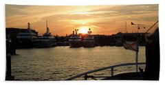 Beach Towel featuring the photograph Sunset Over The Marina by Ron Davidson