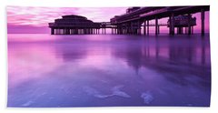 Beach Sheet featuring the photograph Sunset Over The Pier by Mihai Andritoiu
