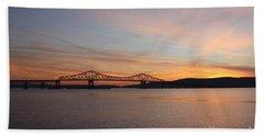 Sunset Over The Tappan Zee Bridge Beach Sheet by John Telfer