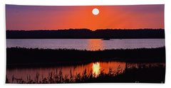 Sunset Over The Wetlands Beach Towel