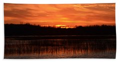 Sunset Over Tiny Marsh Beach Towel by David Porteus