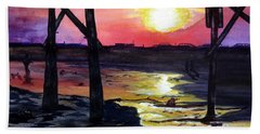 Beach Towel featuring the painting Sunset Pier by Lil Taylor