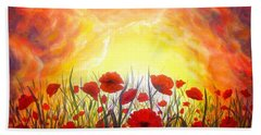Beach Sheet featuring the painting Sunset Poppies by Lilia D