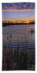 Sunset, Reeds, River.... Beach Towel