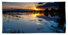 Beach Towel featuring the photograph Sunset Reflections by Steven Reed