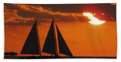 Key West Sunset Sail 3 Beach Towel