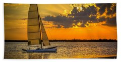 Sunset Sail Beach Towel by Marvin Spates