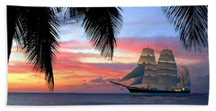 Sunset Sailboat Filtered Beach Towel