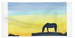 Sunset Silhouette Beach Towel