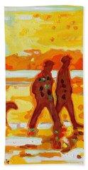 Sunset Silhouette Carmel Beach With Dog Beach Towel by Thomas Bertram POOLE