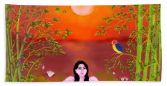 Beach Towel featuring the digital art Sunset Songs by Latha Gokuldas Panicker