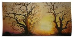 Beach Towel featuring the painting Sunset by Sorin Apostolescu
