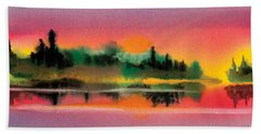 Beach Sheet featuring the painting Sunset by Teresa Ascone
