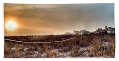 Sunset Through The Fog Beach Towel