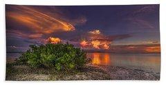 Sunset Thunder Storms Beach Towel