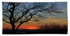Sunset Tree In Ocean City Md Beach Towel