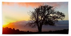 Sunset Tree In Maui Beach Sheet by Venetia Featherstone-Witty